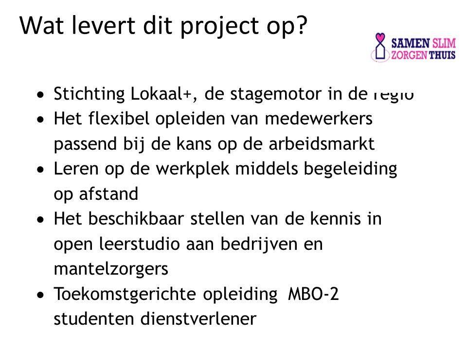 Wat levert dit project op?  Stichting Lokaal+, de stagemotor in de regio  Het flexibel opleiden van medewerkers passend bij de kans op de arbeidsmar