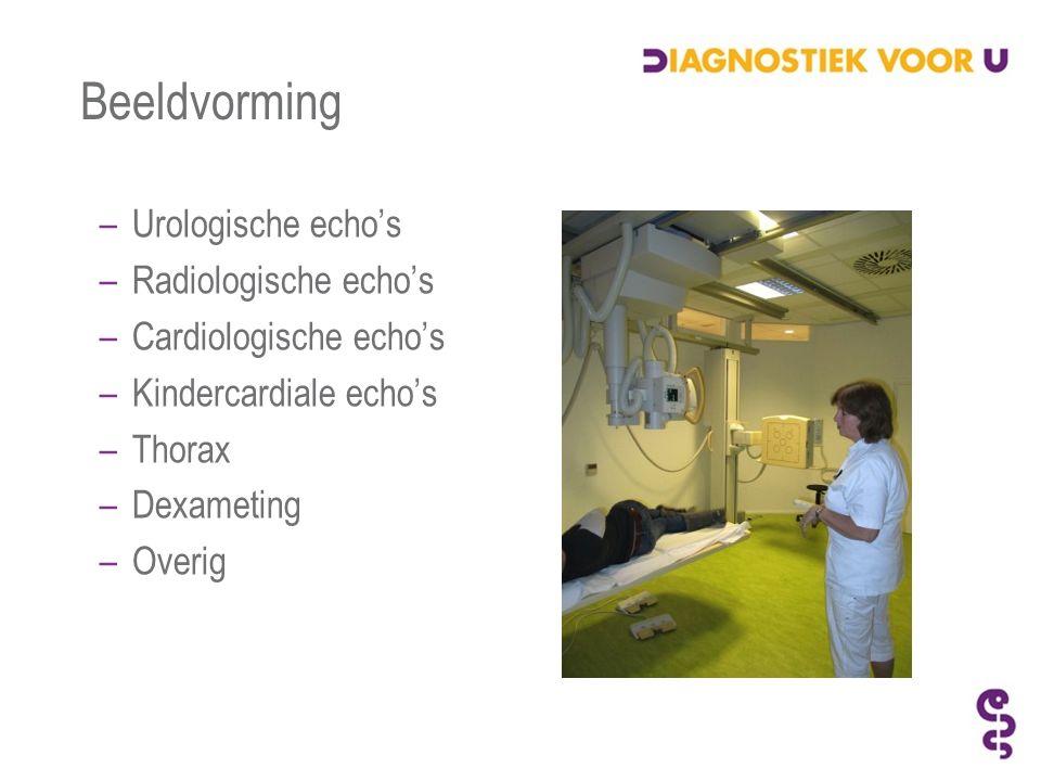 Beeldvorming –Urologische echo's –Radiologische echo's –Cardiologische echo's –Kindercardiale echo's –Thorax –Dexameting –Overig