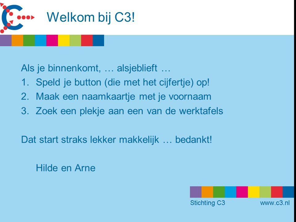 Welkom bij C3. Als je binnenkomt, … alsjeblieft … 1.Speld je button (die met het cijfertje) op.