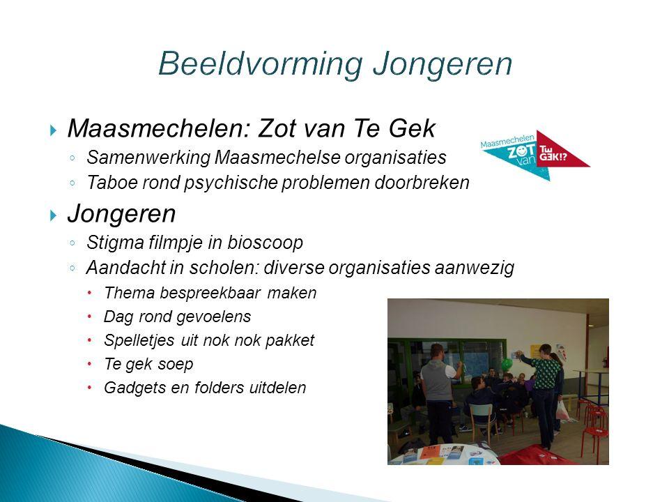  Maasmechelen: Zot van Te Gek ◦ Samenwerking Maasmechelse organisaties ◦ Taboe rond psychische problemen doorbreken  Jongeren ◦ Stigma filmpje in bi