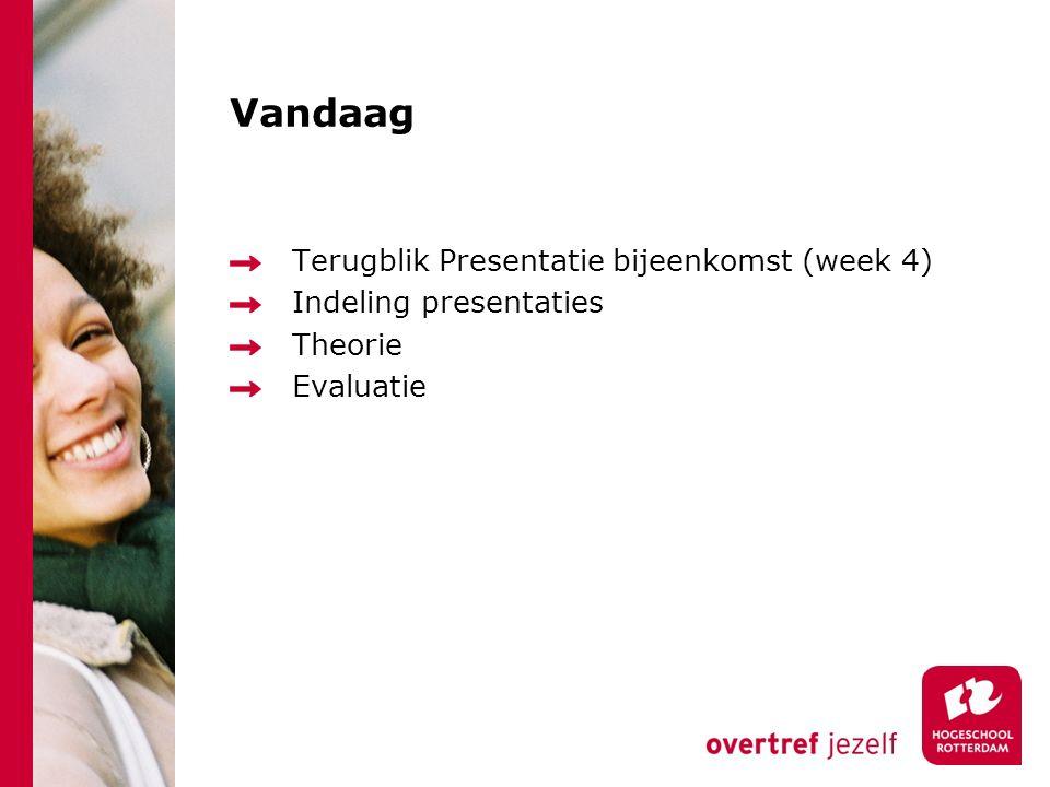 Vandaag Terugblik Presentatie bijeenkomst (week 4) Indeling presentaties Theorie Evaluatie