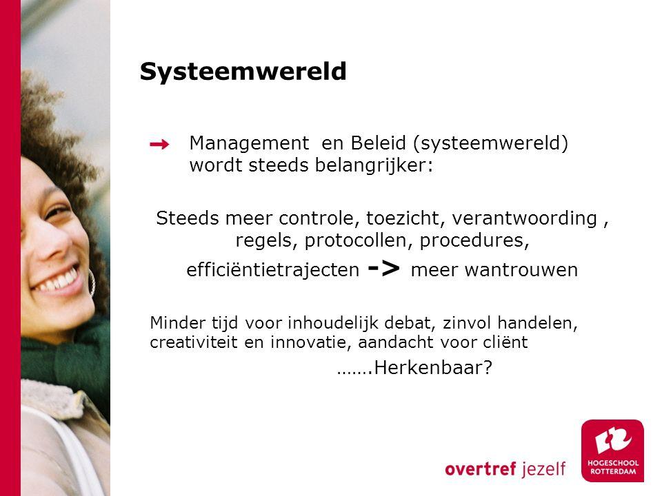 Systeemwereld Management en Beleid (systeemwereld) wordt steeds belangrijker: Steeds meer controle, toezicht, verantwoording, regels, protocollen, pro