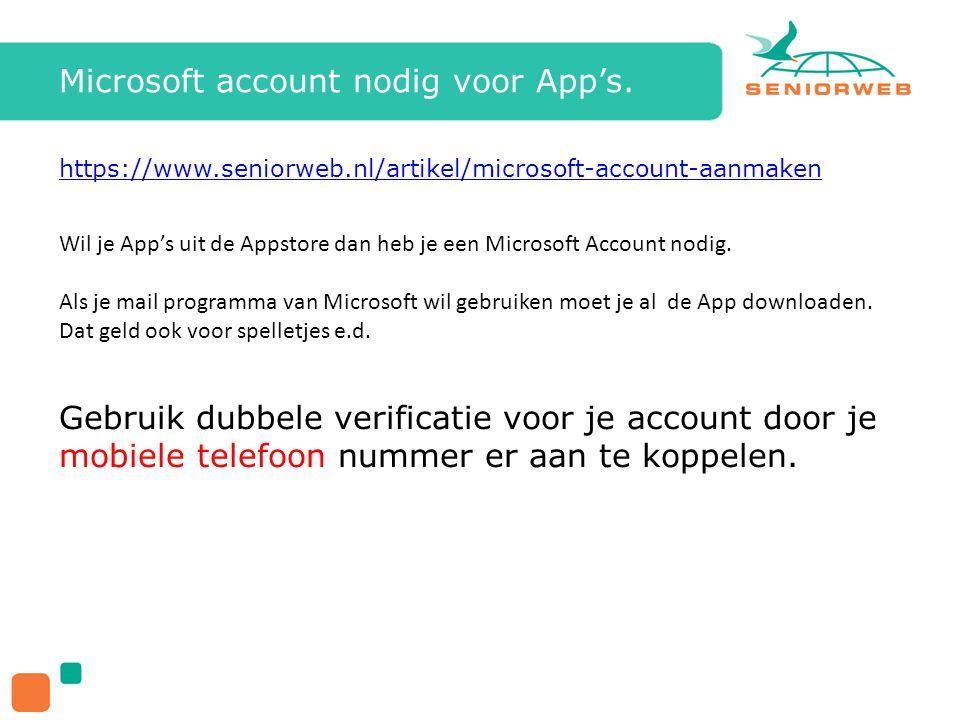 Microsoft account nodig voor App's.