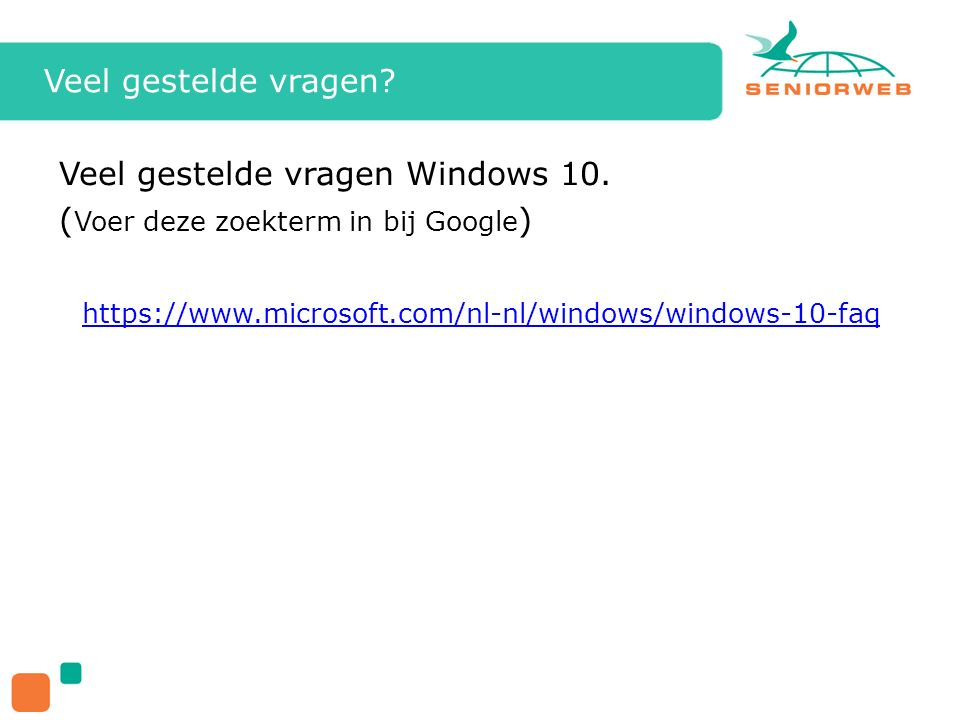 Veel gestelde vragen Windows 10.