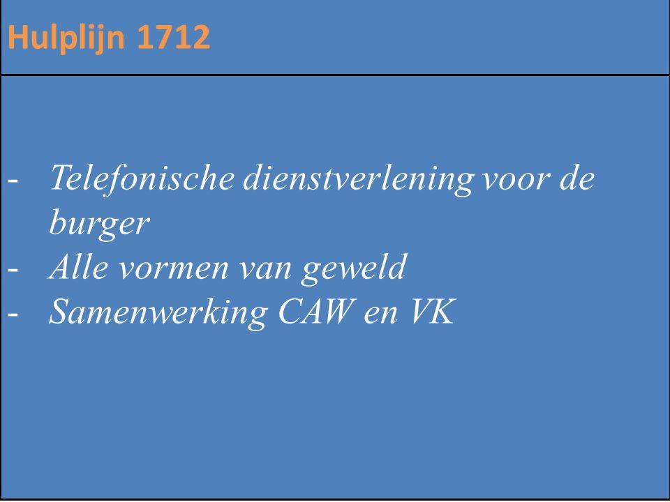 ZINLOOS GEWELD Hulplijn 1712 -Telefonische dienstverlening voor de burger -Alle vormen van geweld -Samenwerking CAW en VK