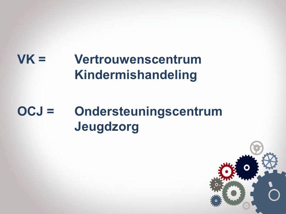 VK = Vertrouwenscentrum Kindermishandeling OCJ = Ondersteuningscentrum Jeugdzorg