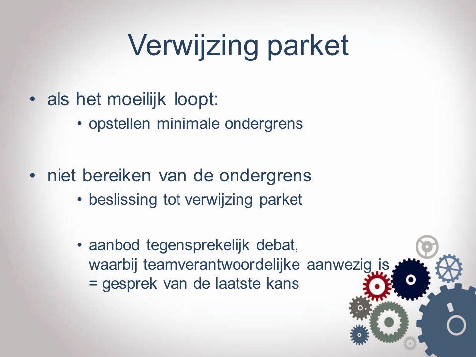 Verwijzing parket als het moeilijk loopt: opstellen minimale ondergrens niet bereiken van de ondergrens beslissing tot verwijzing parket aanbod tegens