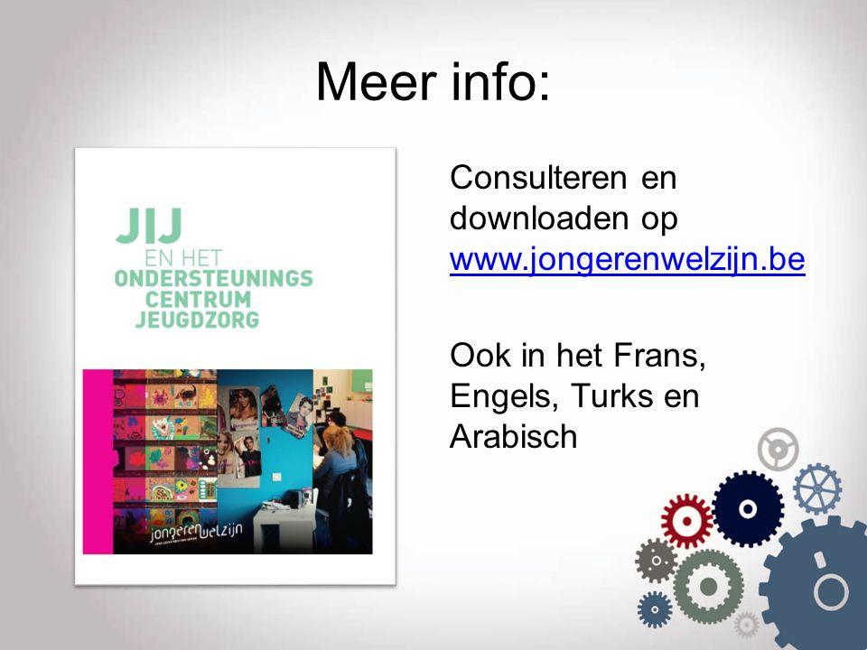 Meer info: Consulteren en downloaden op www.jongerenwelzijn.be www.jongerenwelzijn.be Ook in het Frans, Engels, Turks en Arabisch