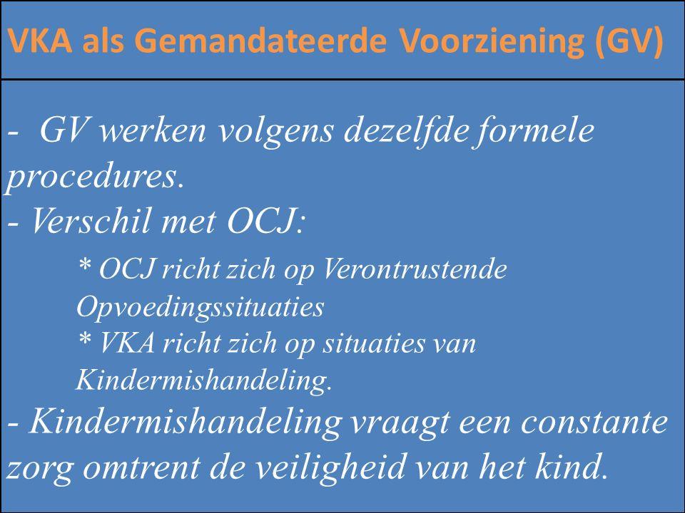 ZINLOOS GEWELD VKA als Gemandateerde Voorziening (GV) - GV werken volgens dezelfde formele procedures. - Verschil met OCJ: * OCJ richt zich op Verontr
