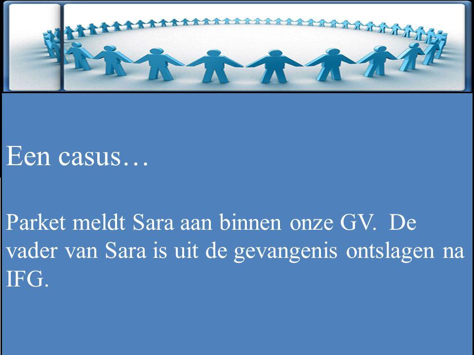 ZINLOOS GEWELD Een casus… Parket meldt Sara aan binnen onze GV. De vader van Sara is uit de gevangenis ontslagen na IFG.