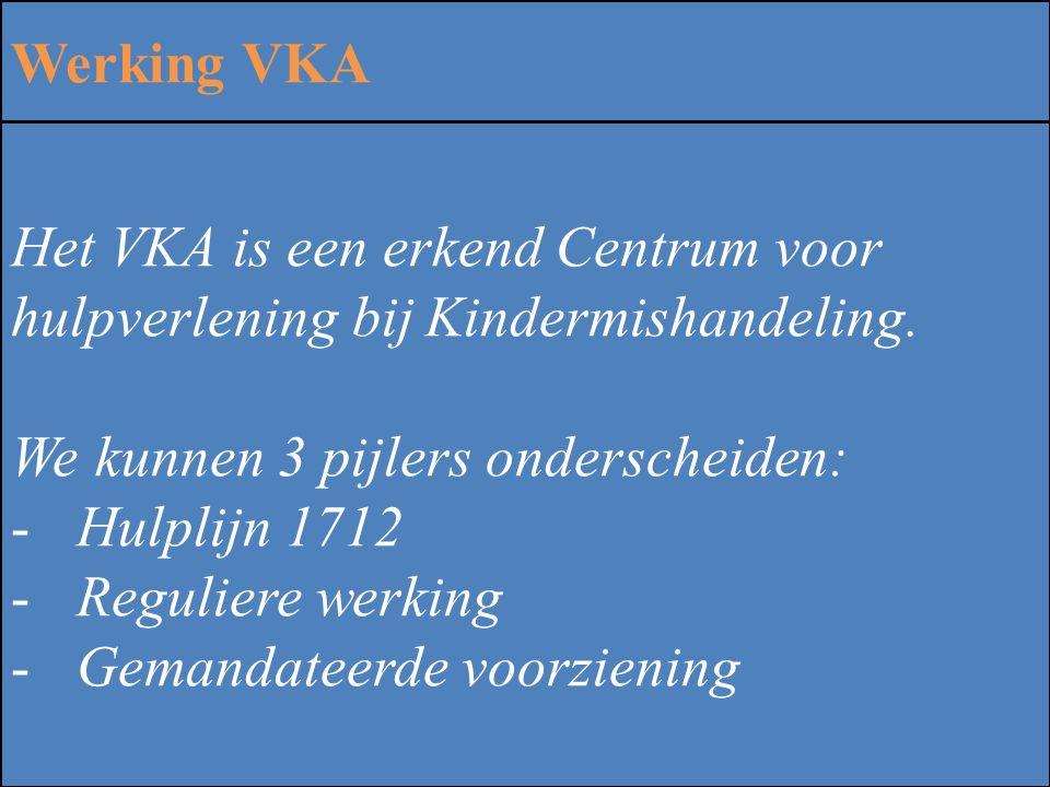 ZINLOOS GEWELD Werking VKA Het VKA is een erkend Centrum voor hulpverlening bij Kindermishandeling. We kunnen 3 pijlers onderscheiden: -Hulplijn 1712