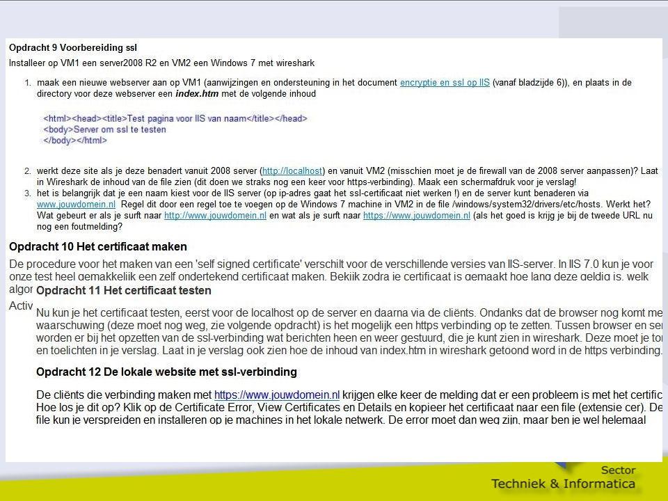 Toepassing Encryptie; SSL
