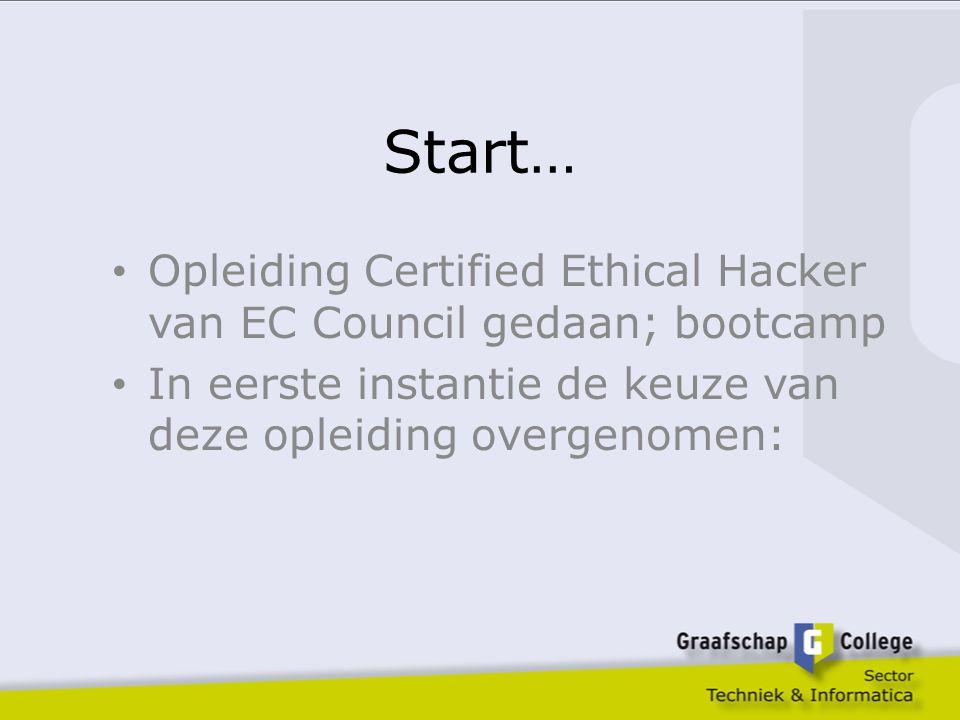 Start… Opleiding Certified Ethical Hacker van EC Council gedaan; bootcamp In eerste instantie de keuze van deze opleiding overgenomen: