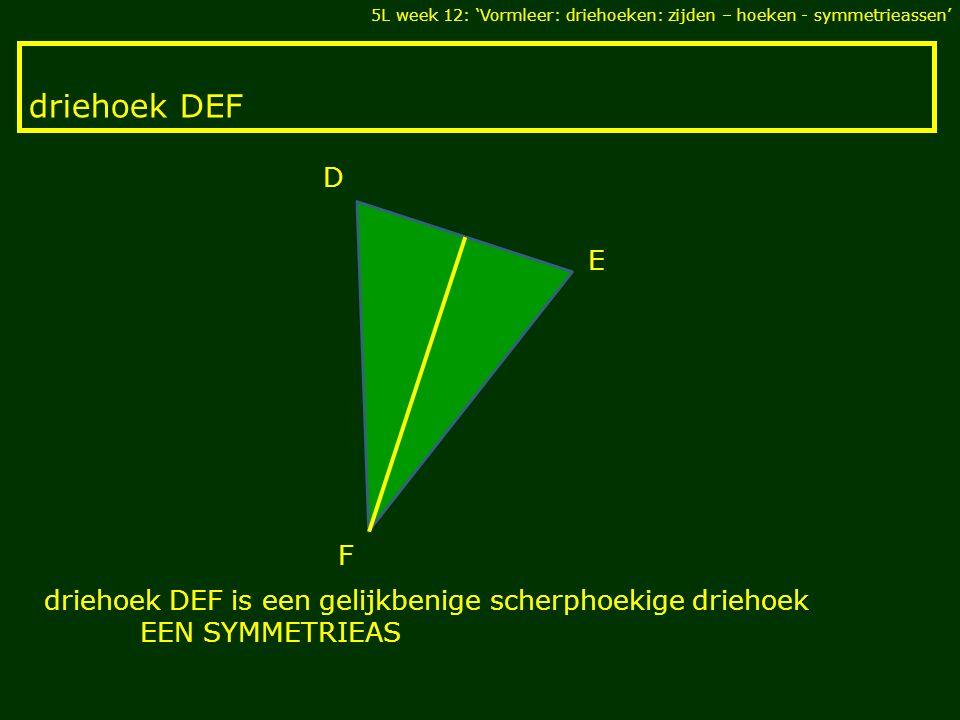 driehoek DEF F E D driehoek DEF is een gelijkbenige scherphoekige driehoek EEN SYMMETRIEAS 5L week 12: 'Vormleer: driehoeken: zijden – hoeken - symmet