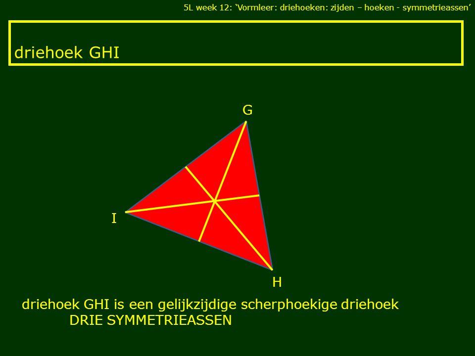 driehoek GHI I H G driehoek GHI is een gelijkzijdige scherphoekige driehoek DRIE SYMMETRIEASSEN 5L week 12: 'Vormleer: driehoeken: zijden – hoeken - symmetrieassen'