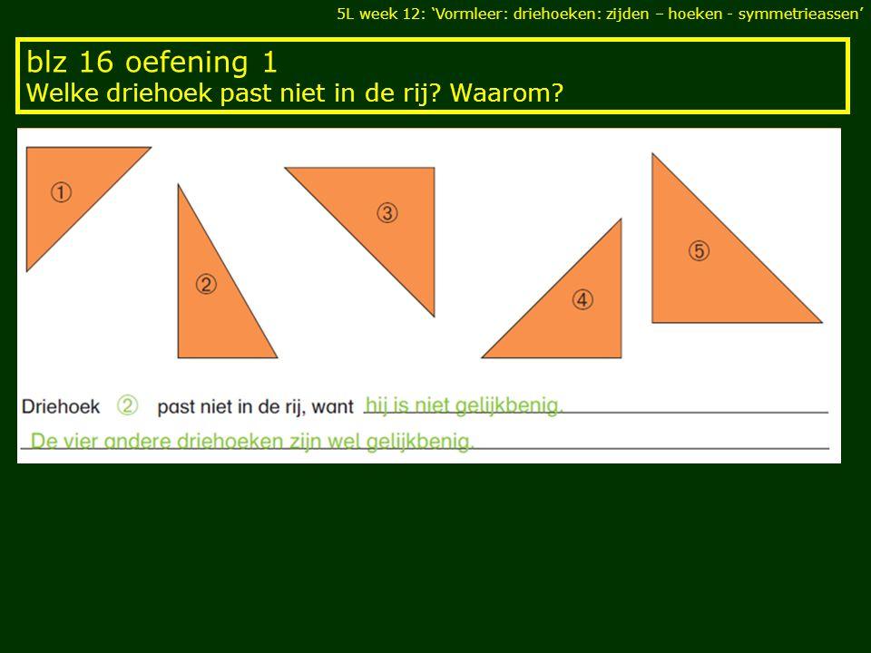 blz 16 oefening 1 Welke driehoek past niet in de rij? Waarom? 5L week 12: 'Vormleer: driehoeken: zijden – hoeken - symmetrieassen'