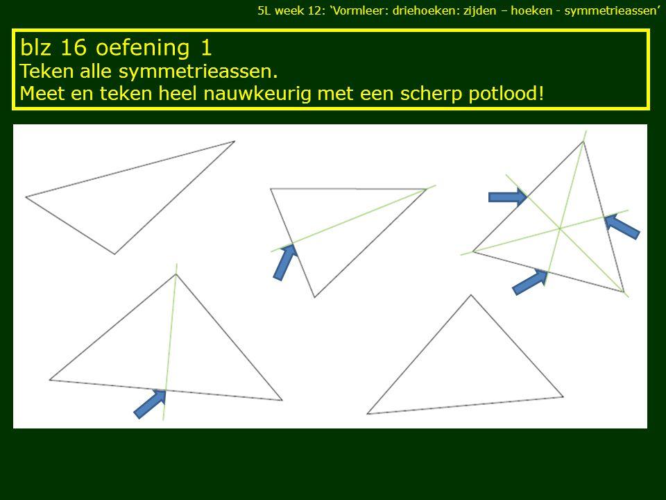 blz 16 oefening 1 Teken alle symmetrieassen. Meet en teken heel nauwkeurig met een scherp potlood! 5L week 12: 'Vormleer: driehoeken: zijden – hoeken