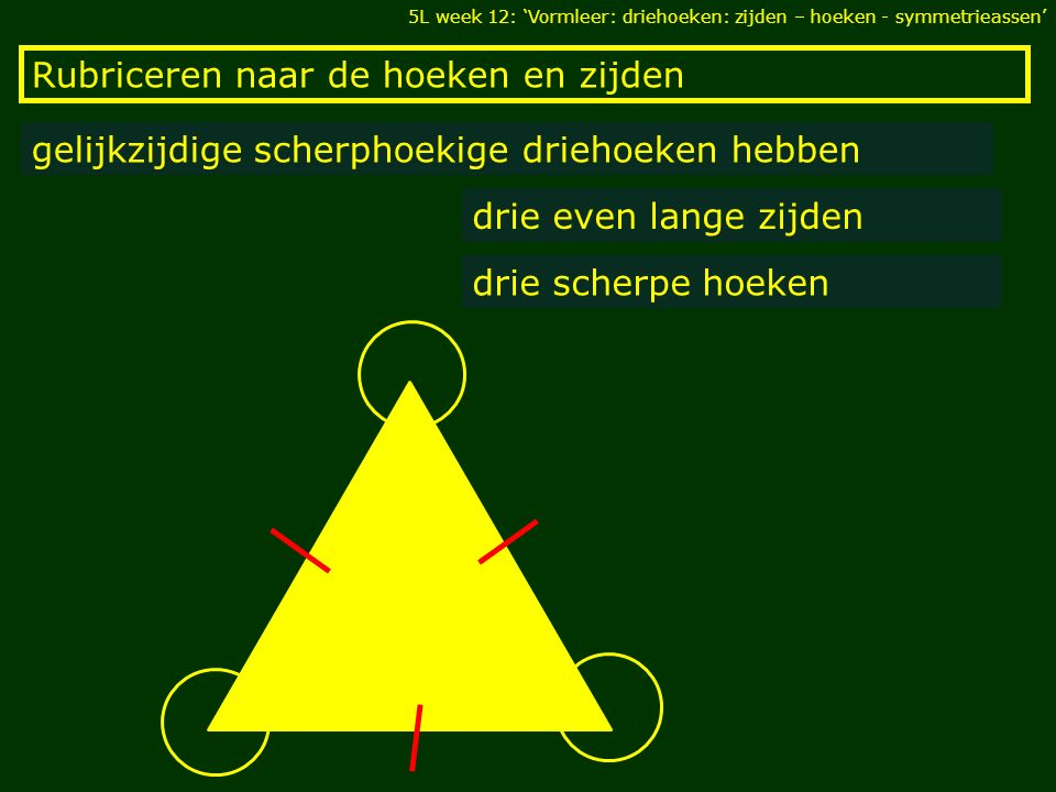Rubriceren naar de hoeken en zijden gelijkzijdige scherphoekige driehoeken hebben drie even lange zijden drie scherpe hoeken 5L week 12: 'Vormleer: driehoeken: zijden – hoeken - symmetrieassen'