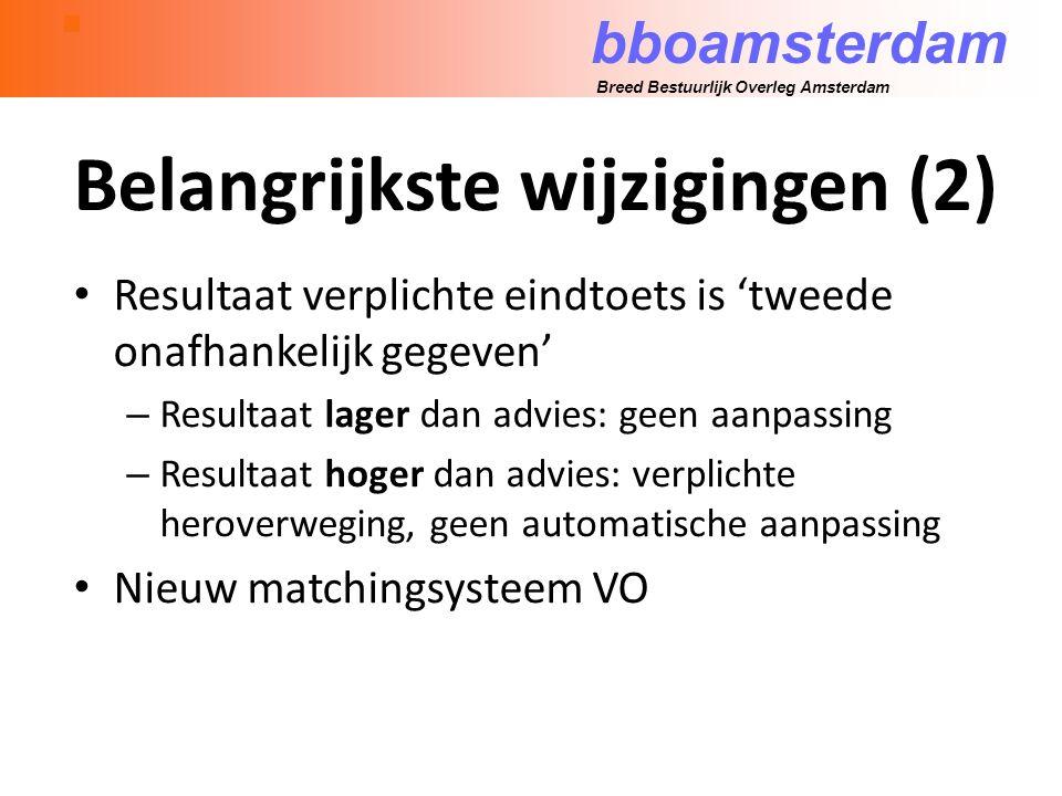 bboamsterdam Breed Bestuurlijk Overleg Amsterdam Belangrijkste wijzigingen (2) Resultaat verplichte eindtoets is 'tweede onafhankelijk gegeven' – Resultaat lager dan advies: geen aanpassing – Resultaat hoger dan advies: verplichte heroverweging, geen automatische aanpassing Nieuw matchingsysteem VO