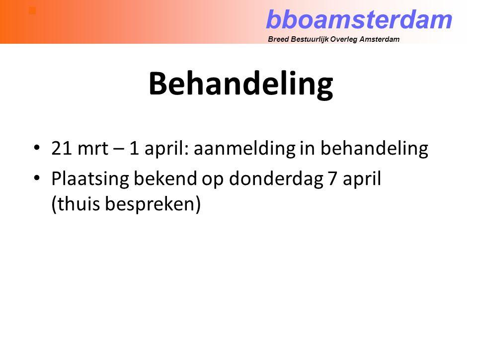 bboamsterdam Breed Bestuurlijk Overleg Amsterdam Behandeling 21 mrt – 1 april: aanmelding in behandeling Plaatsing bekend op donderdag 7 april (thuis bespreken)