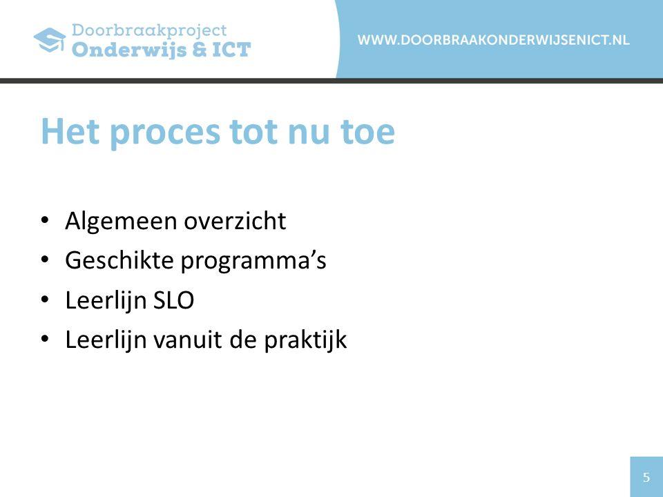 5 Algemeen overzicht Geschikte programma's Leerlijn SLO Leerlijn vanuit de praktijk Het proces tot nu toe