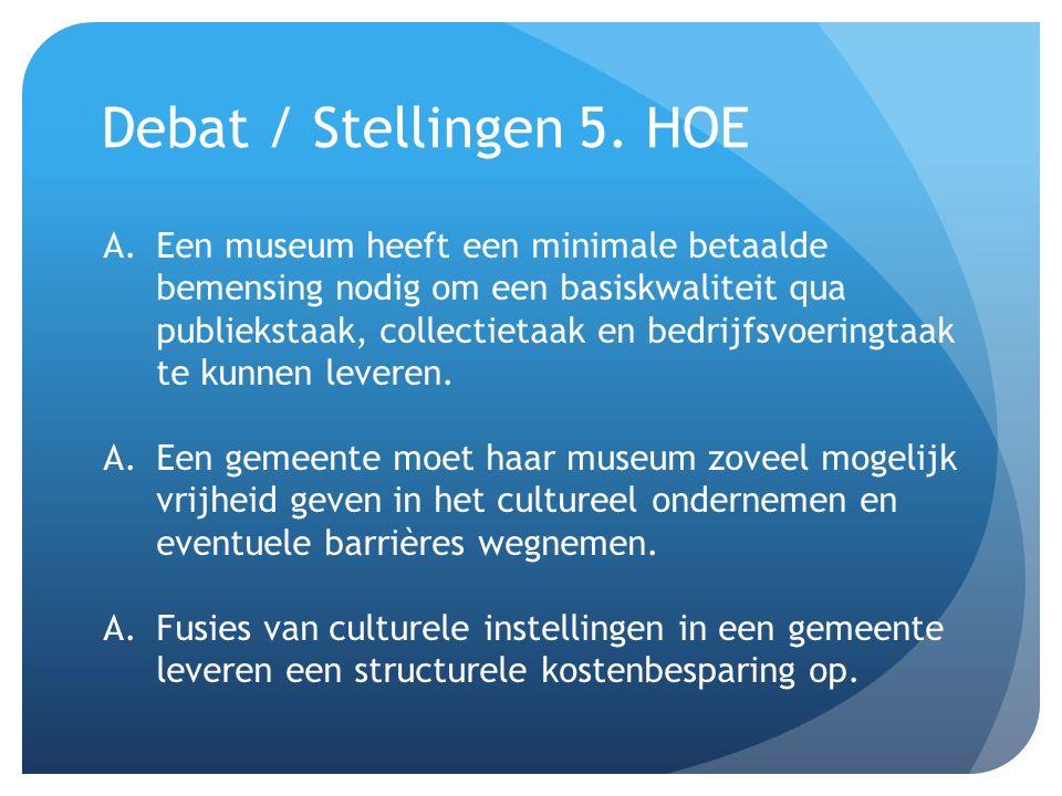 Debat / Stellingen 5. HOE A.Een museum heeft een minimale betaalde bemensing nodig om een basiskwaliteit qua publiekstaak, collectietaak en bedrijfsvo