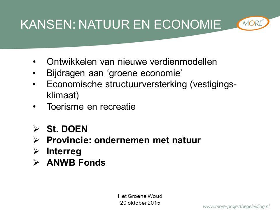 KANSEN: NATUUR EN ECONOMIE Ontwikkelen van nieuwe verdienmodellen Bijdragen aan 'groene economie' Economische structuurversterking (vestigings- klimaat) Toerisme en recreatie  St.