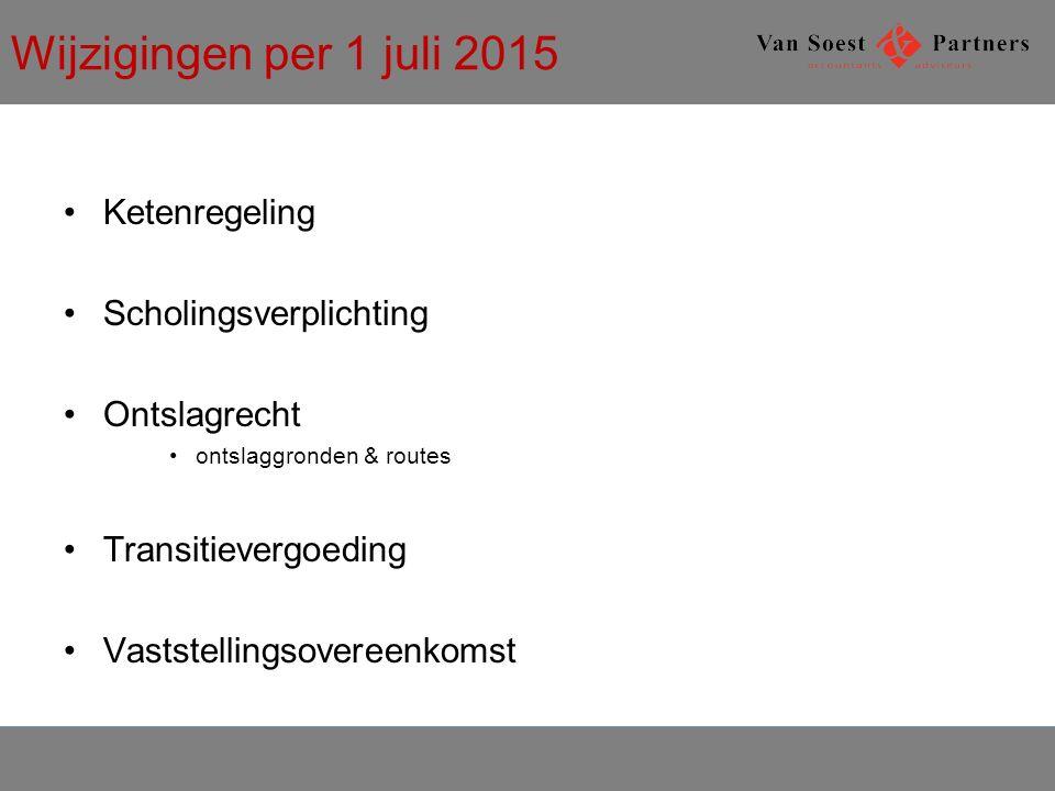 Wijzigingen per 1 juli 2015 Ketenregeling Scholingsverplichting Ontslagrecht ontslaggronden & routes Transitievergoeding Vaststellingsovereenkomst