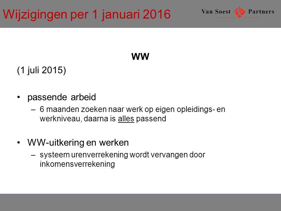 Wijzigingen per 1 januari 2016 WW (1 juli 2015) passende arbeid –6 maanden zoeken naar werk op eigen opleidings- en werkniveau, daarna is alles passend WW-uitkering en werken –systeem urenverrekening wordt vervangen door inkomensverrekening