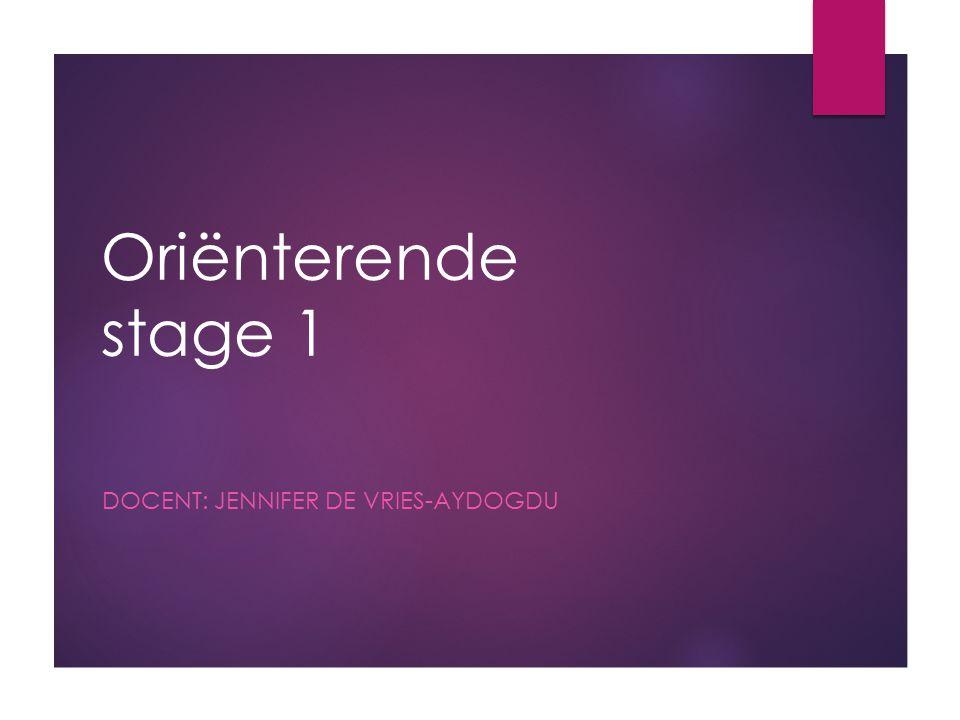 Oriënterende stage 1 DOCENT: JENNIFER DE VRIES-AYDOGDU