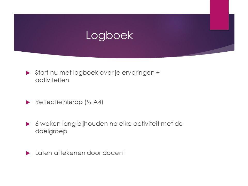 Logboek  Start nu met logboek over je ervaringen + activiteiten  Reflectie hierop (½ A4)  6 weken lang bijhouden na elke activiteit met de doelgroe