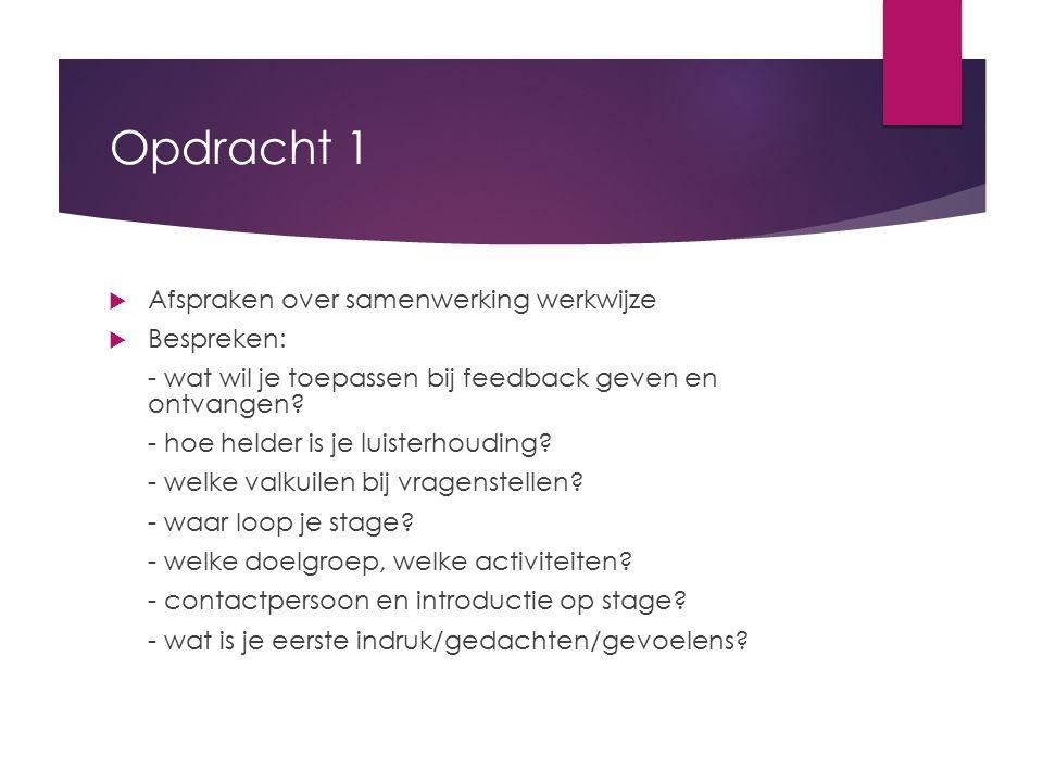 Opdracht 1  Afspraken over samenwerking werkwijze  Bespreken: - wat wil je toepassen bij feedback geven en ontvangen? - hoe helder is je luisterhoud