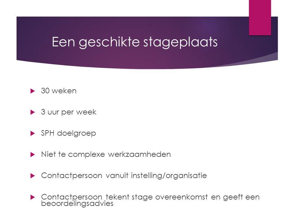 Een geschikte stageplaats  30 weken  3 uur per week  SPH doelgroep  Niet te complexe werkzaamheden  Contactpersoon vanuit instelling/organisatie
