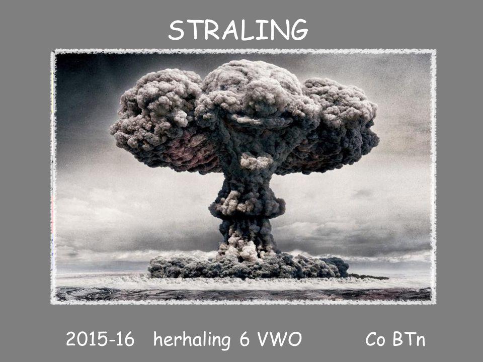 STRALING 2015-16 herhaling 6 VWO Co BTn I STRALING Historische inleiding: soorten straling IIHALVEREN! Rekenen aan straling en aan toelaatbare dosis I