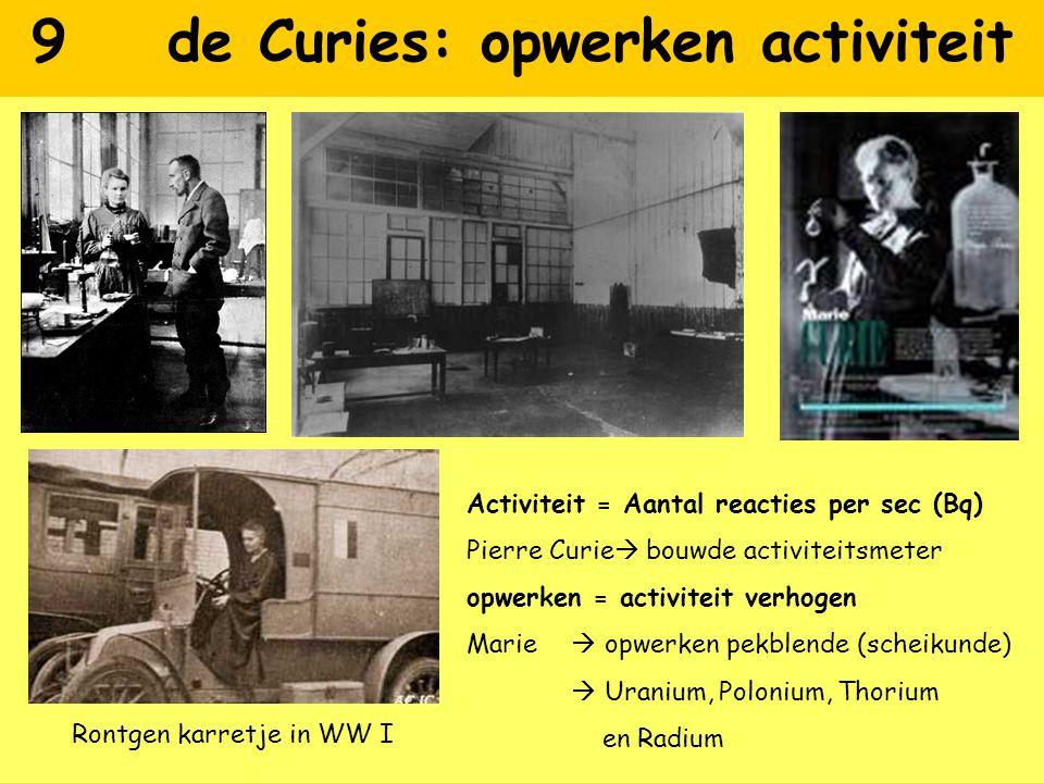 9 de Curies: opwerken activiteit Activiteit = Aantal reacties per sec (Bq) Pierre Curie  bouwde activiteitsmeter opwerken = activiteit verhogen Marie