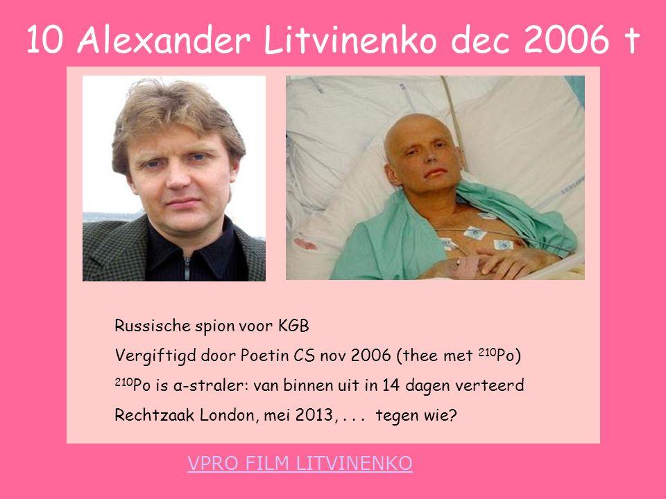 10 Alexander Litvinenko dec 2006 t VPRO FILM LITVINENKO Russische spion voor KGB Vergiftigd door Poetin CS nov 2006 (thee met 210 Po) 210 Po is α-stra