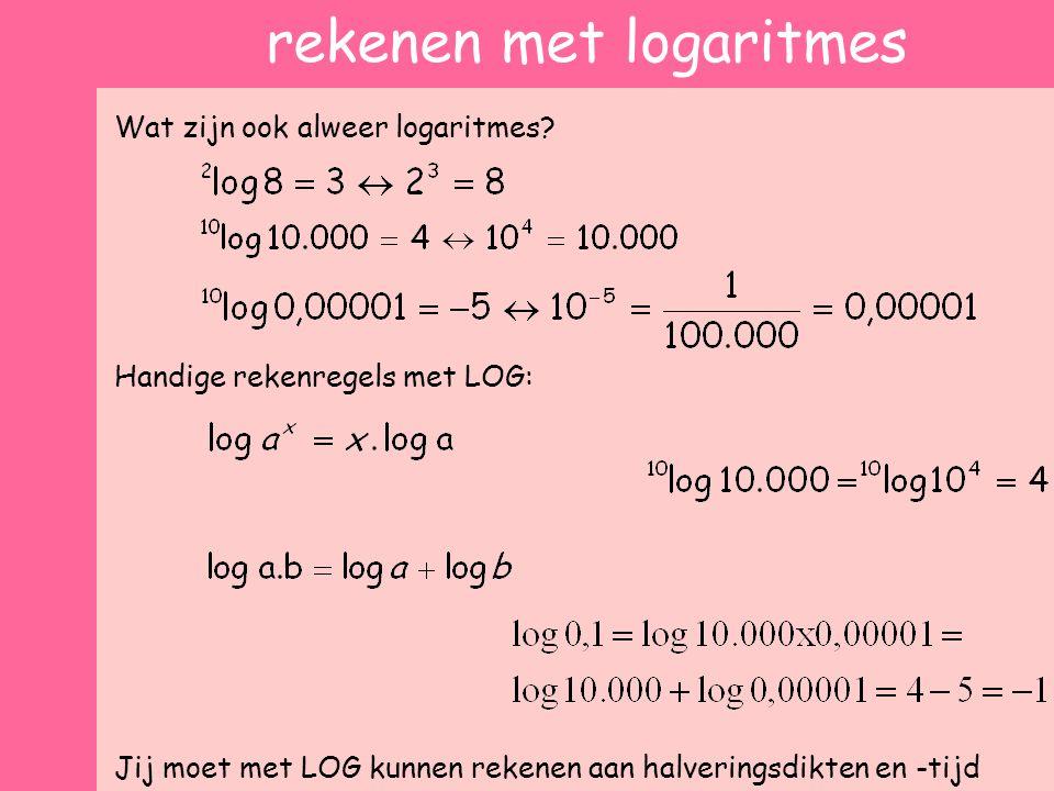 rekenen met logaritmes Wat zijn ook alweer logaritmes? Handige rekenregels met LOG: Jij moet met LOG kunnen rekenen aan halveringsdikten en -tijd