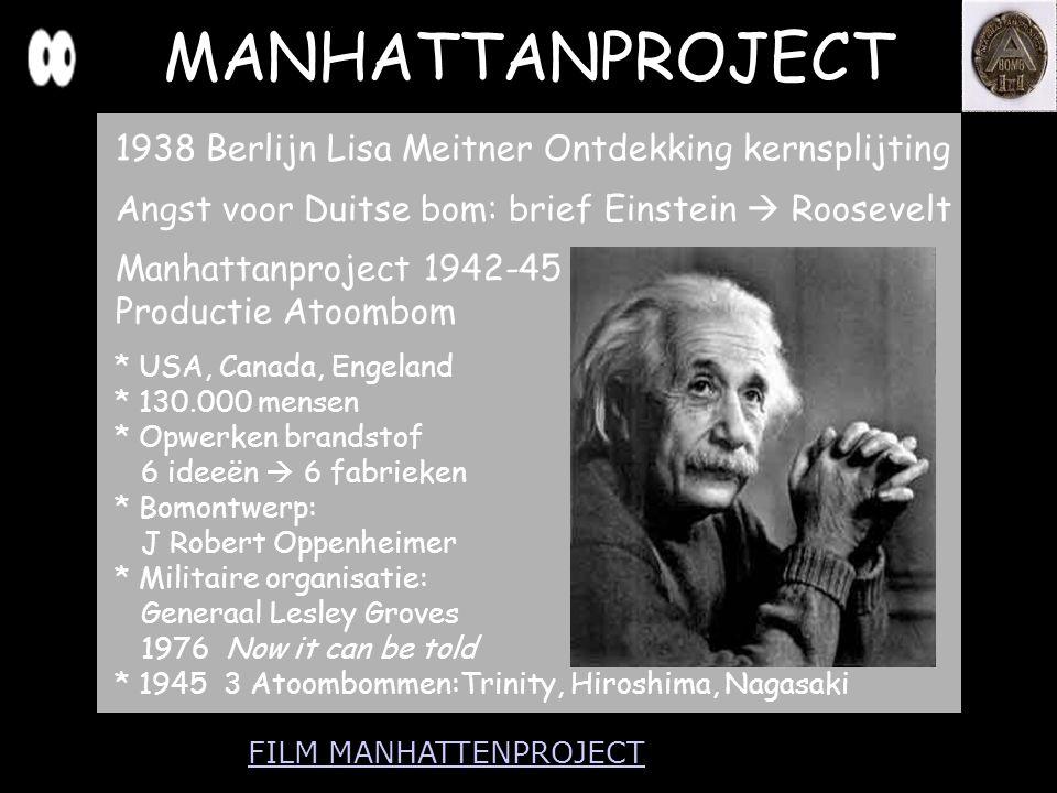 MANHATTANPROJECT 1938 Berlijn Lisa Meitner Ontdekking kernsplijting Angst voor Duitse bom: brief Einstein  Roosevelt Manhattanproject 1942-45 Product