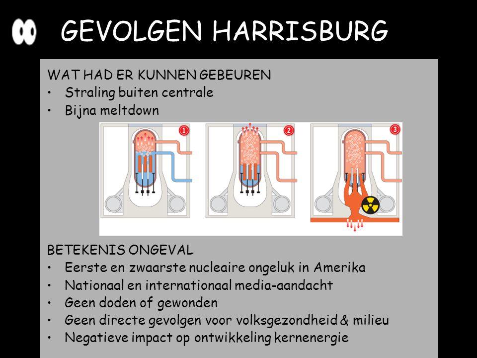 GEVOLGEN HARRISBURG WAT HAD ER KUNNEN GEBEUREN Straling buiten centrale Bijna meltdown BETEKENIS ONGEVAL Eerste en zwaarste nucleaire ongeluk in Ameri