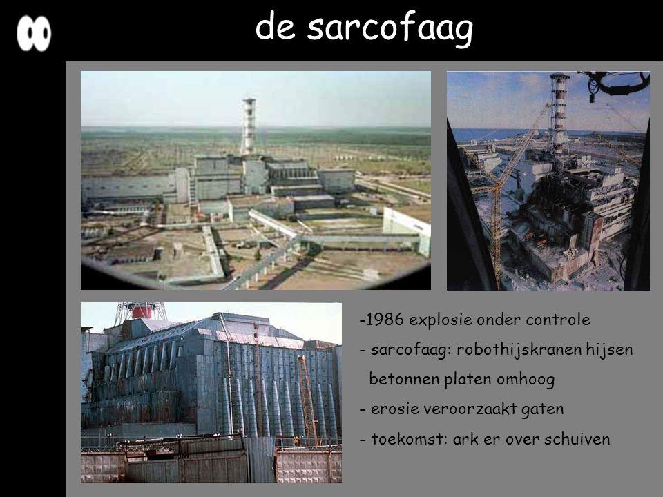 de sarcofaag -1986 explosie onder controle - sarcofaag: robothijskranen hijsen betonnen platen omhoog - erosie veroorzaakt gaten - toekomst: ark er ov