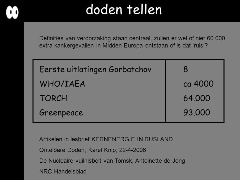 doden tellen Definities van veroorzaking staan centraal, zullen er wel of niet 60.000 extra kankergevallen in Midden-Europa ontstaan of is dat 'ruis'?