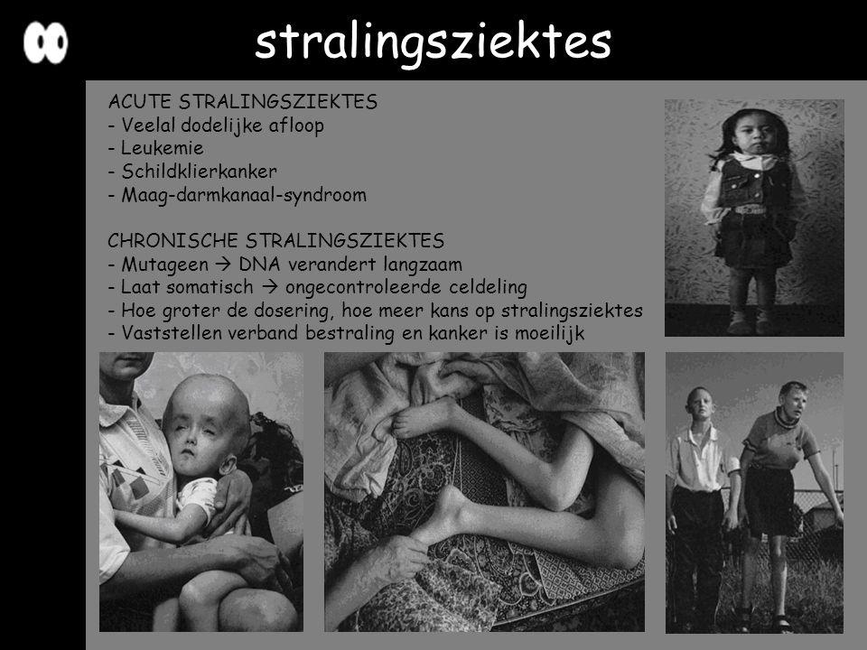stralingsziektes ACUTE STRALINGSZIEKTES - Veelal dodelijke afloop - Leukemie - Schildklierkanker - Maag-darmkanaal-syndroom CHRONISCHE STRALINGSZIEKTE