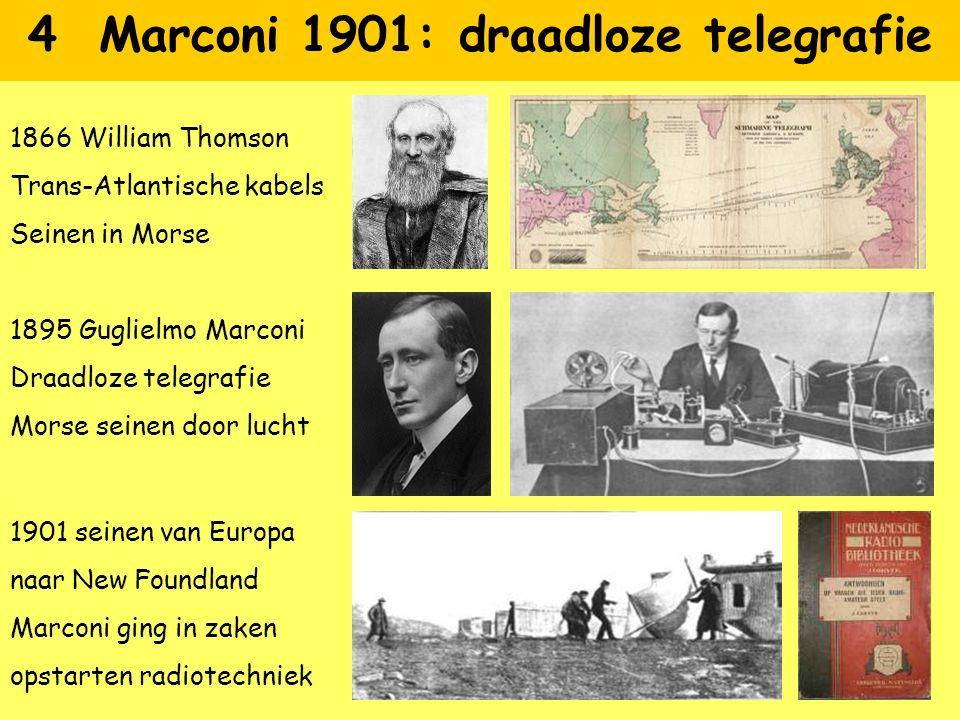 4 Marconi 1901: draadloze telegrafie 1866 William Thomson Trans-Atlantische kabels Seinen in Morse 1895 Guglielmo Marconi Draadloze telegrafie Morse s