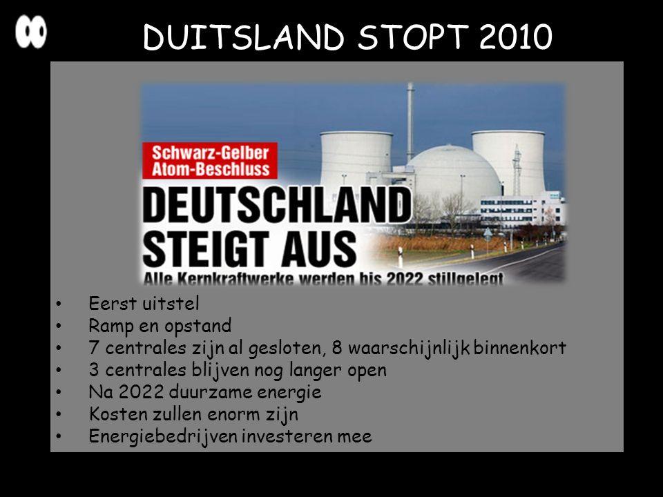 DUITSLAND STOPT 2010 Eerst uitstel Ramp en opstand 7 centrales zijn al gesloten, 8 waarschijnlijk binnenkort 3 centrales blijven nog langer open Na 20