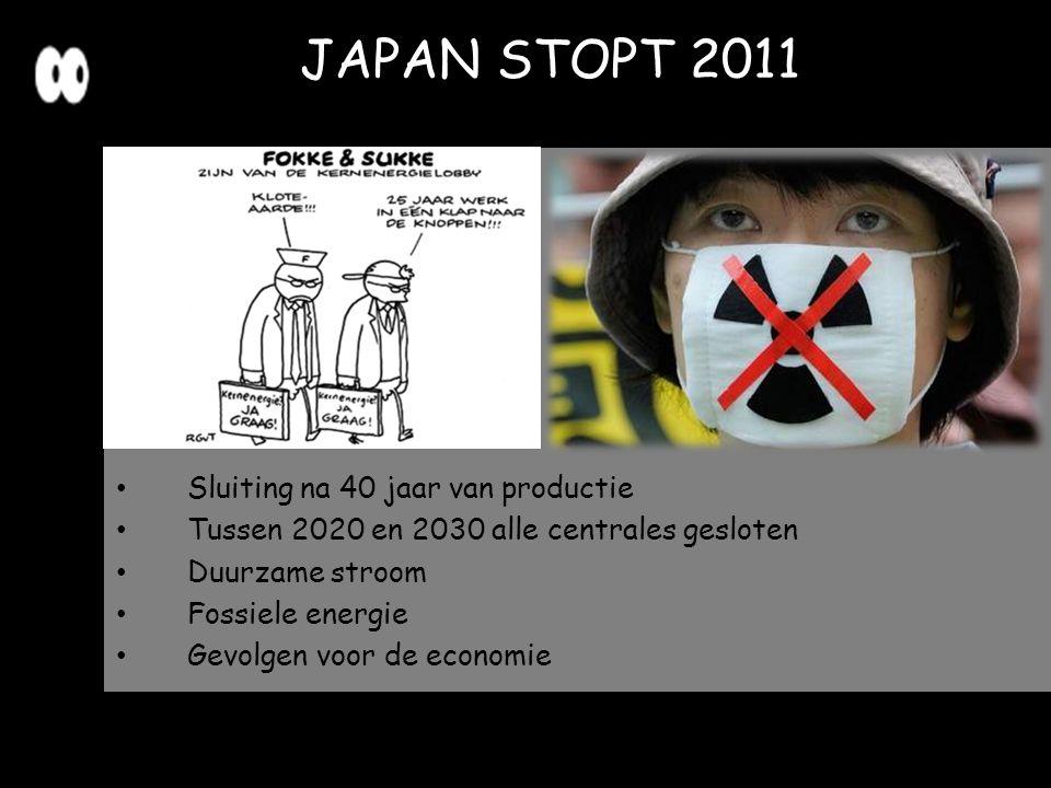 JAPAN STOPT 2011 Sluiting na 40 jaar van productie Tussen 2020 en 2030 alle centrales gesloten Duurzame stroom Fossiele energie Gevolgen voor de econo