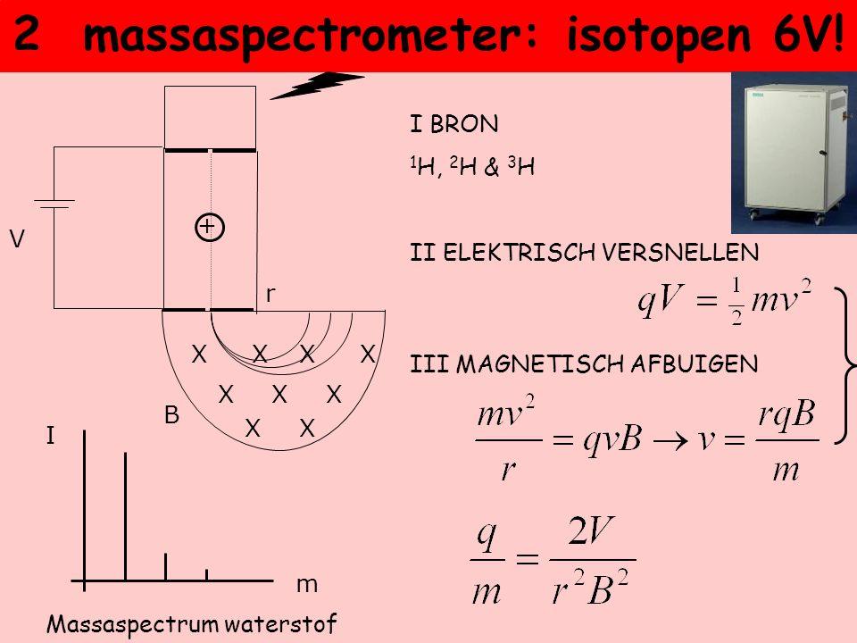 2 massaspectrometer: isotopen 6V! I BRON 1 H, 2 H & 3 H II ELEKTRISCH VERSNELLEN III MAGNETISCH AFBUIGEN X XXXX XXX X + V B r I m Massaspectrum waters