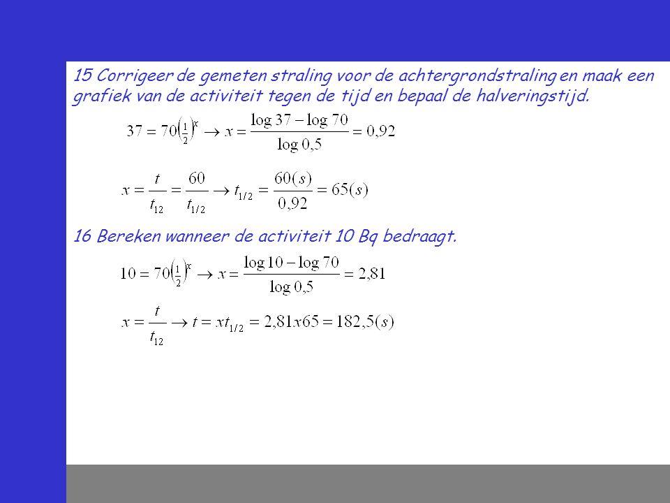 15 Corrigeer de gemeten straling voor de achtergrondstraling en maak een grafiek van de activiteit tegen de tijd en bepaal de halveringstijd. 16 Berek