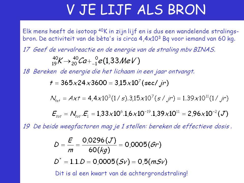 V JE LIJF ALS BRON Elk mens heeft de isotoop 40 K in zijn lijf en is dus een wandelende stralings- bron. De activiteit van de bèta's is circa 4,4x10 3
