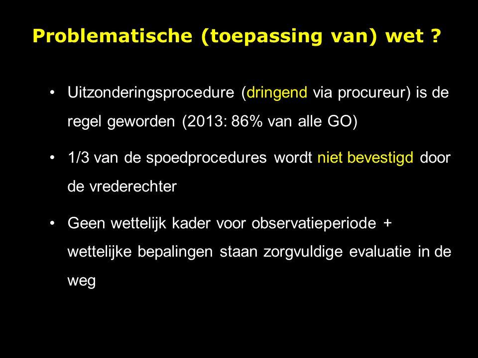 Uitzonderingsprocedure (dringend via procureur) is de regel geworden (2013: 86% van alle GO) 1/3 van de spoedprocedures wordt niet bevestigd door de vrederechter Geen wettelijk kader voor observatieperiode + wettelijke bepalingen staan zorgvuldige evaluatie in de weg Problematische (toepassing van) wet
