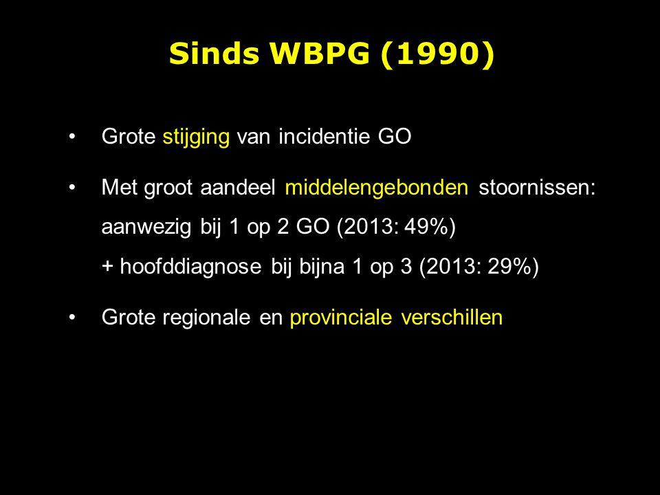 Grote stijging van incidentie GO Met groot aandeel middelengebonden stoornissen: aanwezig bij 1 op 2 GO (2013: 49%) + hoofddiagnose bij bijna 1 op 3 (2013: 29%) Grote regionale en provinciale verschillen Sinds WBPG (1990)